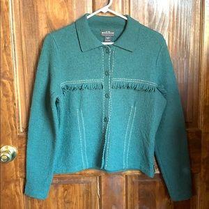 BOHO Woolrich 100% Lambswool Sweater w/Fringe Teal
